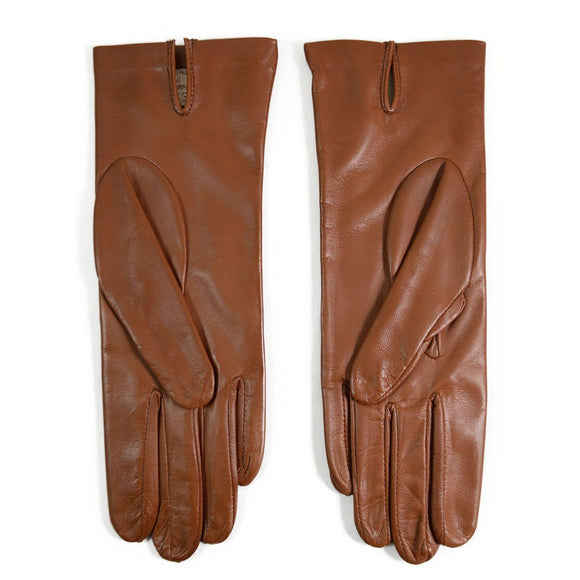 DENTS Womens FELICITY Silk Lined Leather Gloves - COGNAC