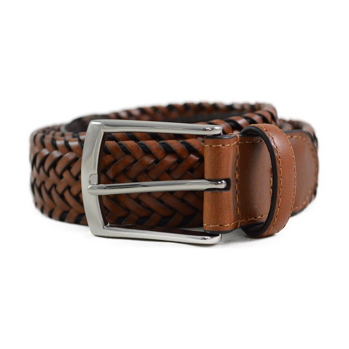 DENTS Plaited Leather Belt - Tan