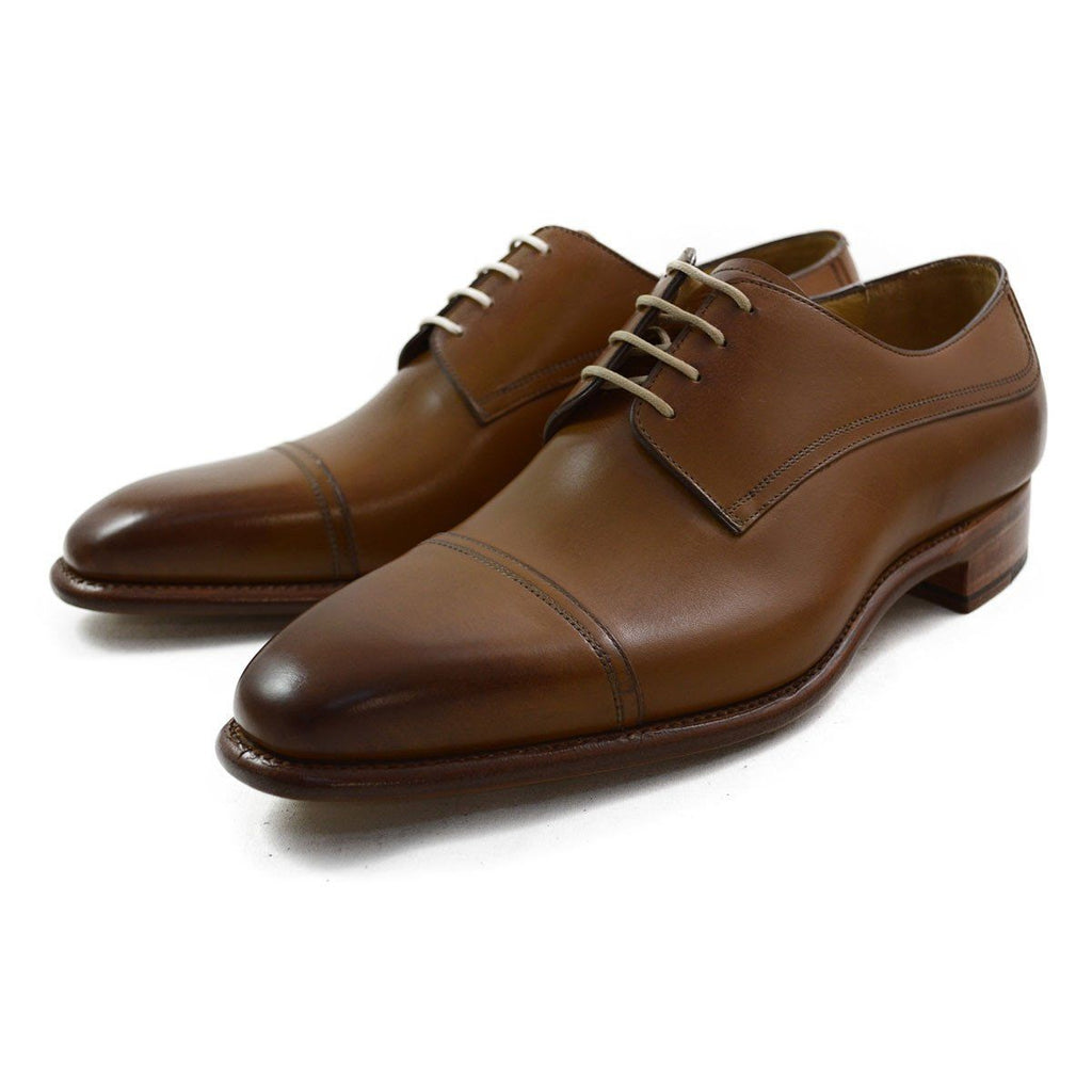 Carlos Santos Toe Cap Derby in Tan Calf