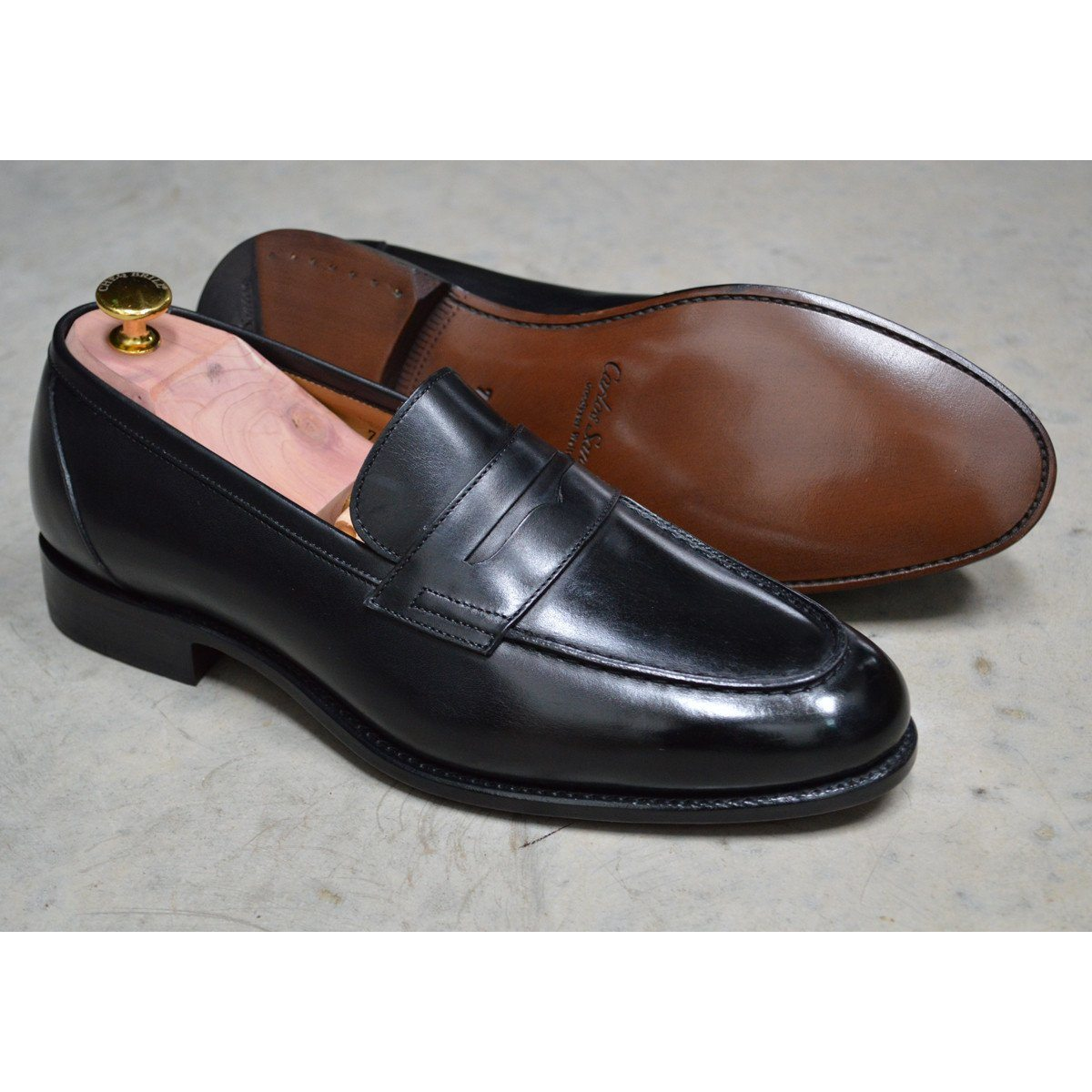 2be607f0df7c Carlos Santos Penny Loafer in Black Calf - A Fine Pair of Shoes ...