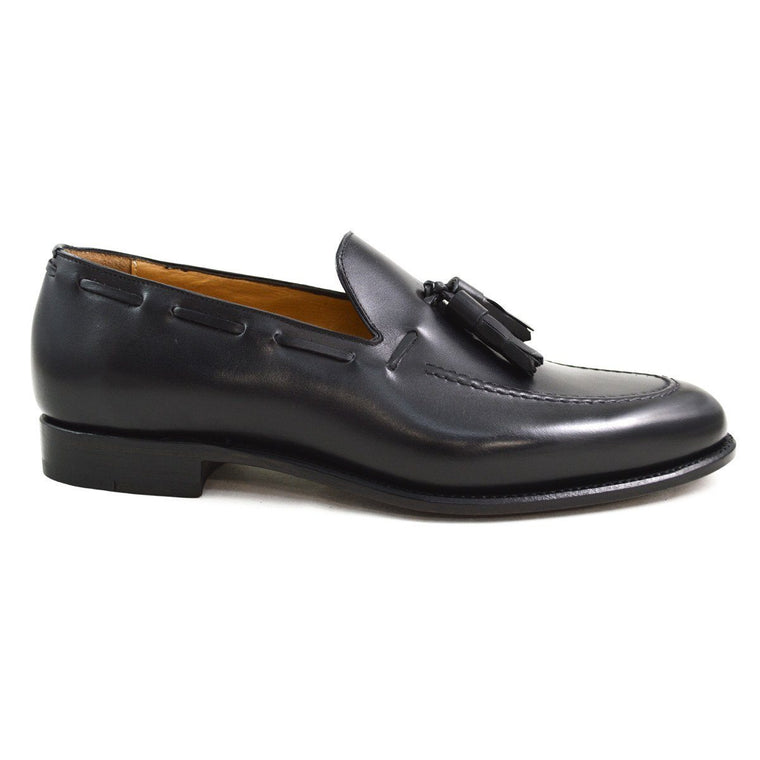 Carlos Santos Tasselled Loafer in Black Calf