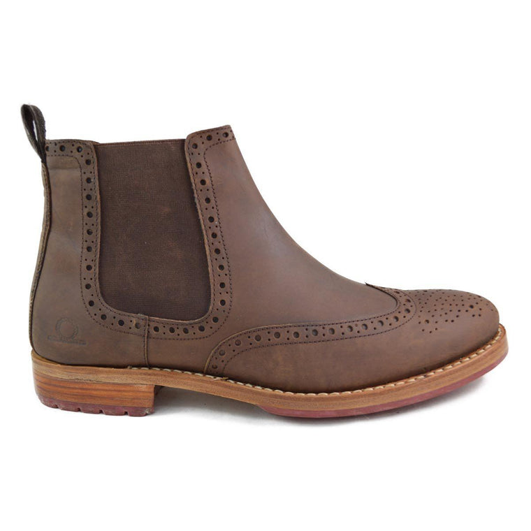 Chatham DUDLEY Chelsea Brogue Boot - Dark Brown