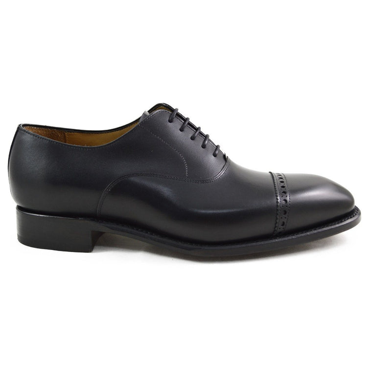 Carlos Santos Semi Brogue in Black Calf