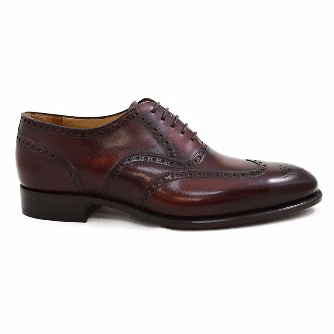 Carlos Santos Wingtip Brogue in Wine Shadow Patina