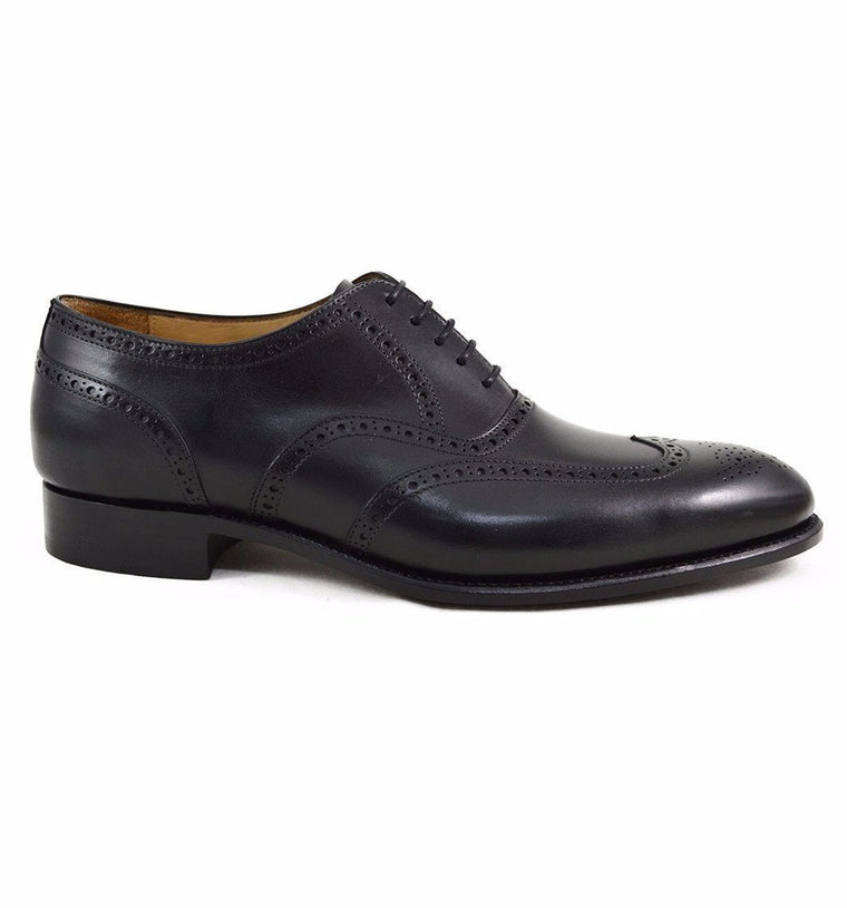 Carlos Santos Wingtip Brogue in Black Patina