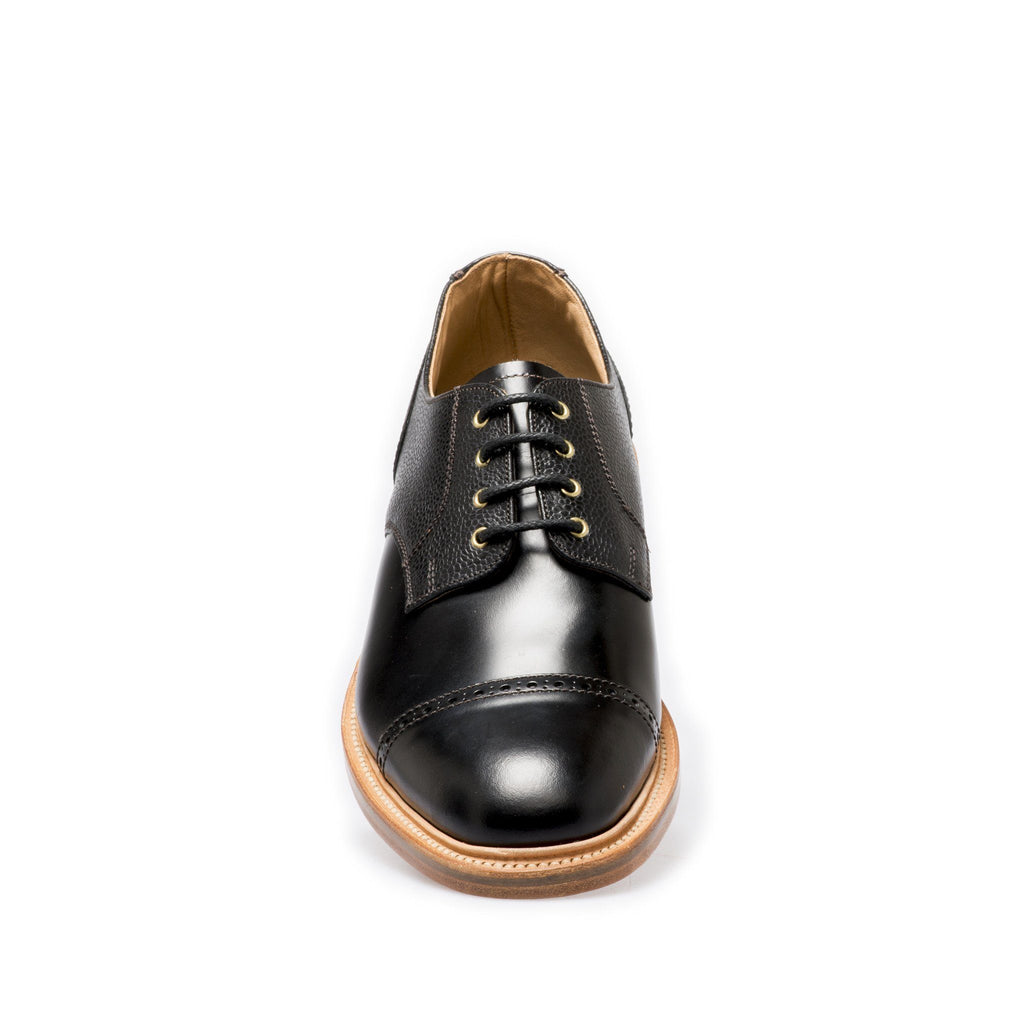 NPS SALISBURY Derby Straight Cap Shoes - Black Grain