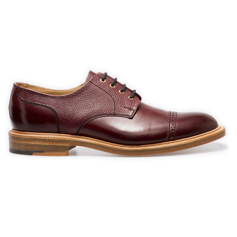 NPS SALISBURY Derby Straight Cap Shoes - Burgundy Grain