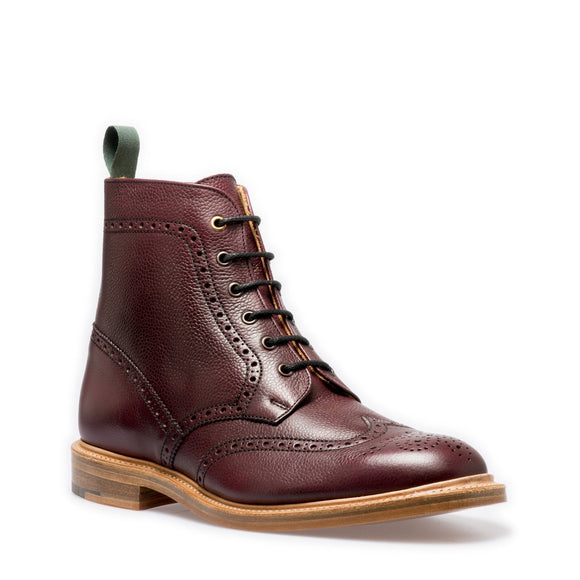 NPS HEATH Gibson Brogue Boots - Burgundy Grain