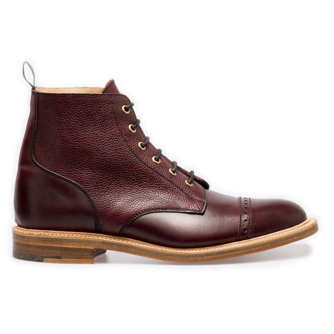 NPS EDEN Derby Straight Cap Boots - Burgundy Grain