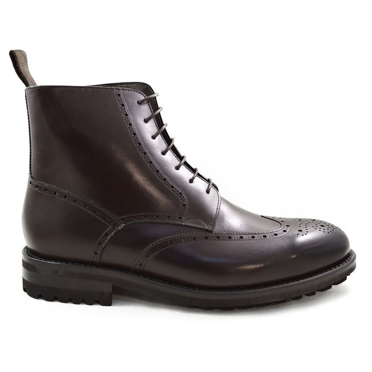 Carlos Santos Brogue Boot in Dark Brown Calf