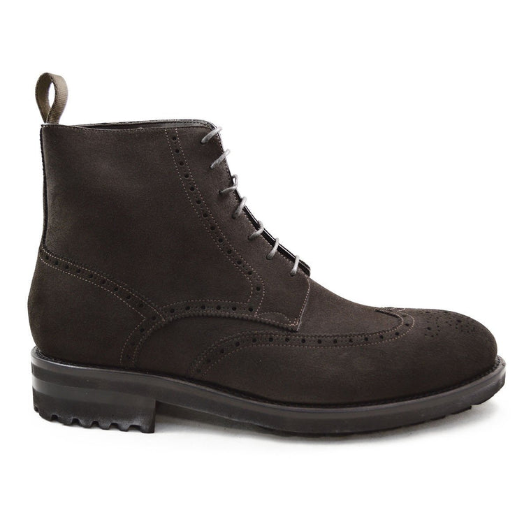 Carlos Santos Brogue Boot in Dark Brown Suede