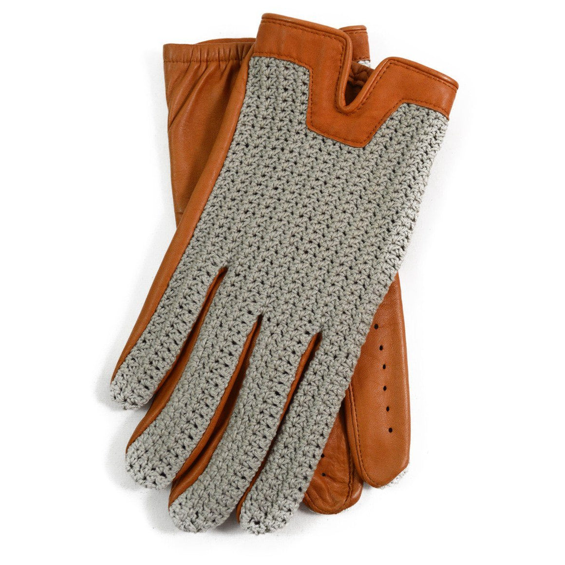 DENTS DONNINGTON Crochet and Leather Driving Gloves - Cork