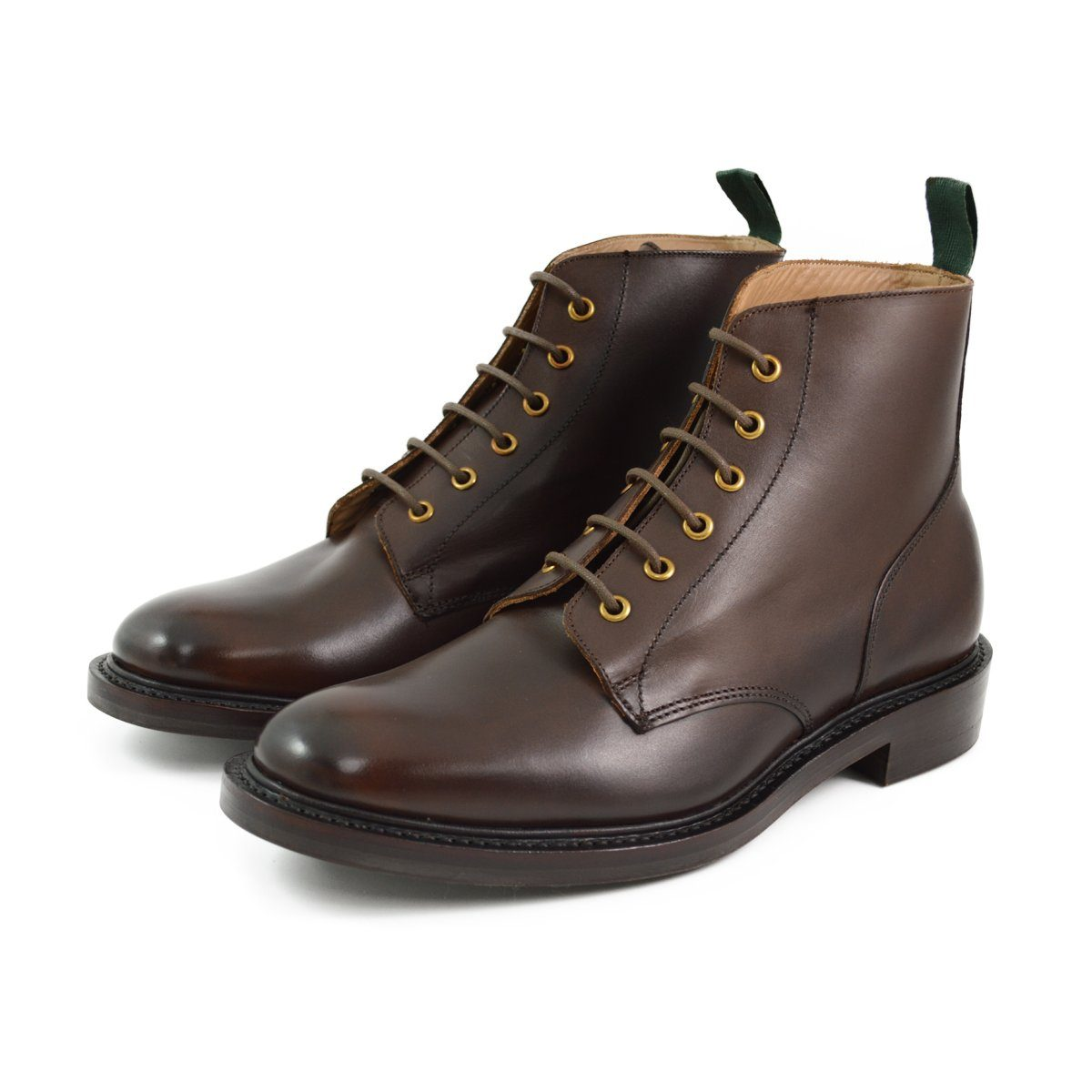 Nps Gladstone Plain Derby Boots Ebony With Dainite Sole
