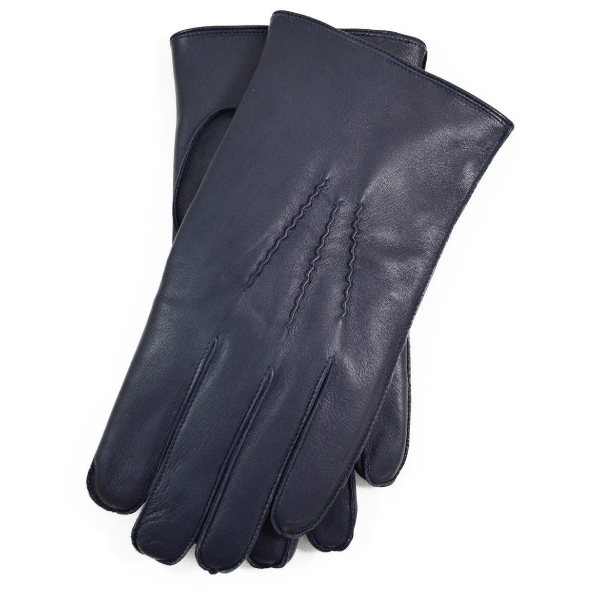 DENTS LUMLEY Leather and Rabbit Gloves - Navy