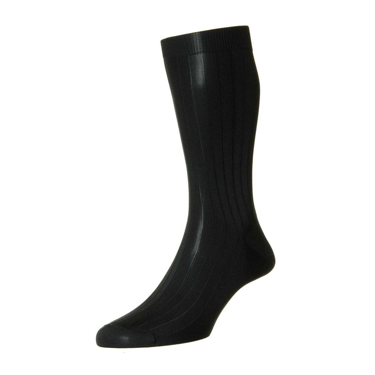 Pantherella Asberley Luxury Silk Socks - Black