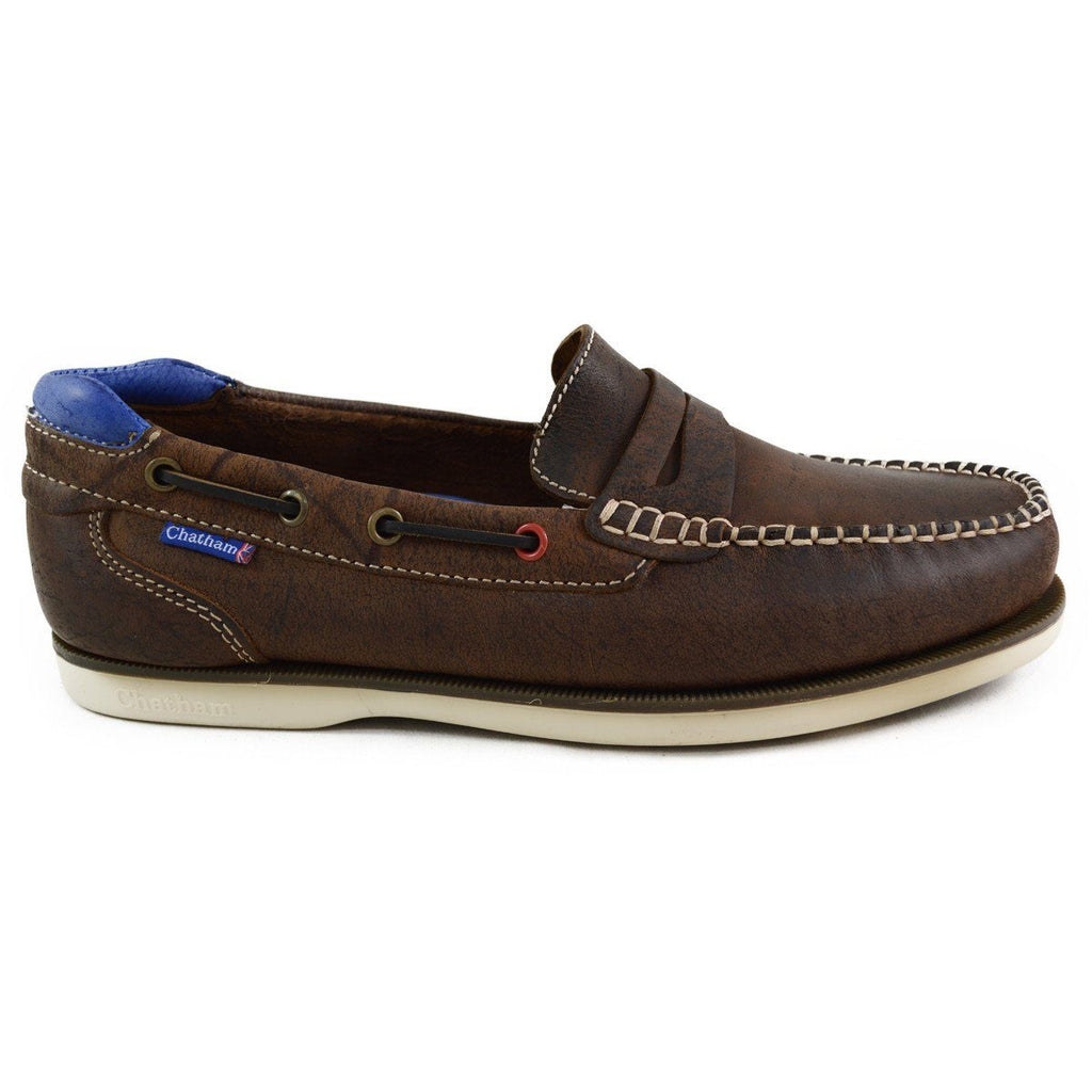 Chatham Made in Britain Slip On Deck Shoe - PEEL Dark Brown
