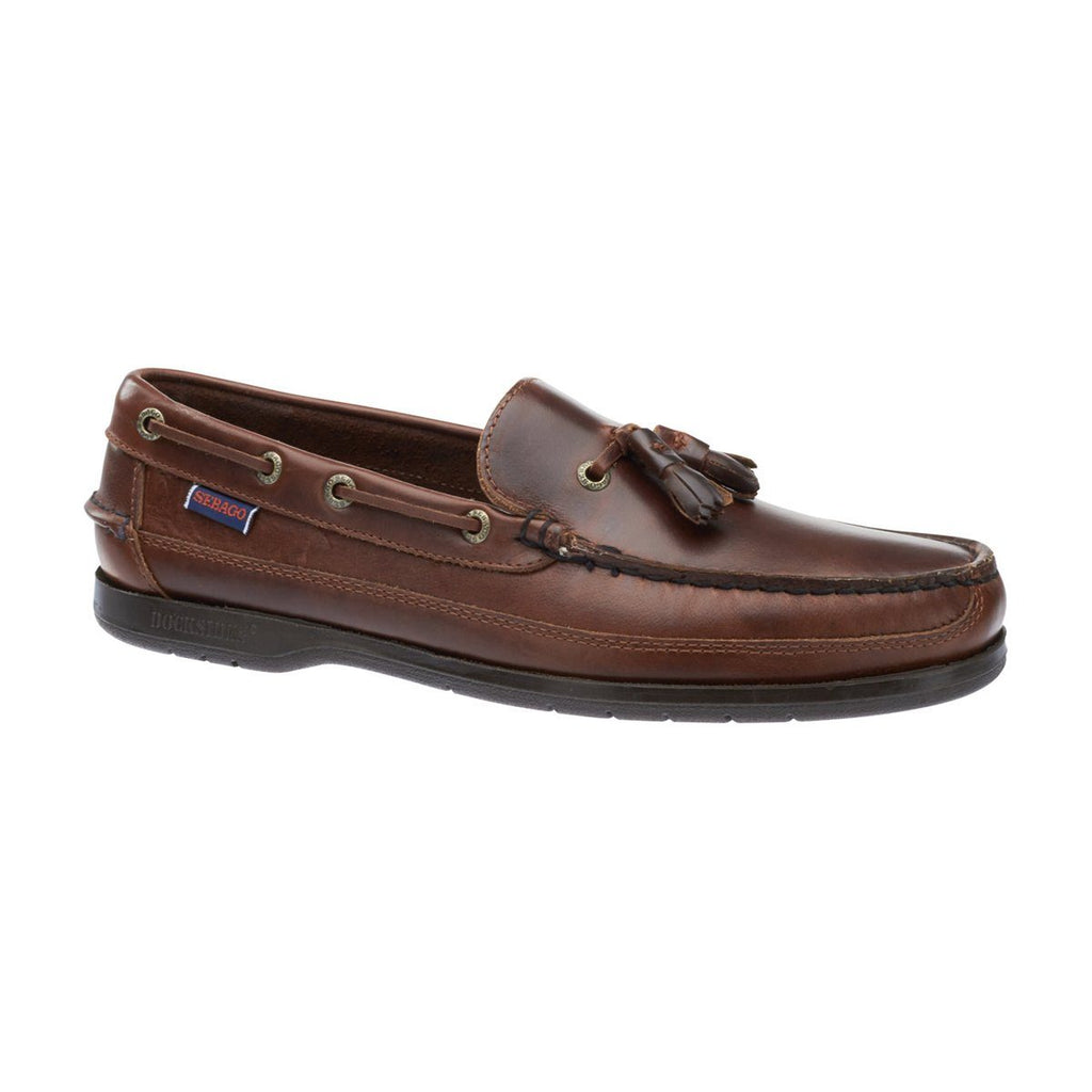 Sebago Ketch Brown Oiled Waxy Slip On Tasselled Shoes