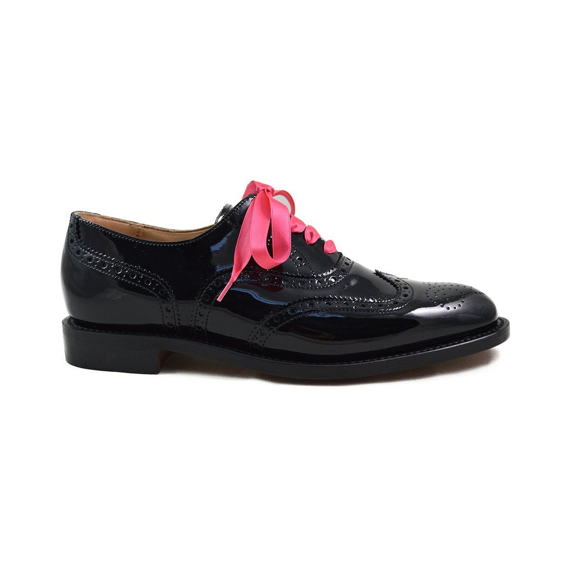 NPS Womens Charlotte Black Patent Brogue Shoes