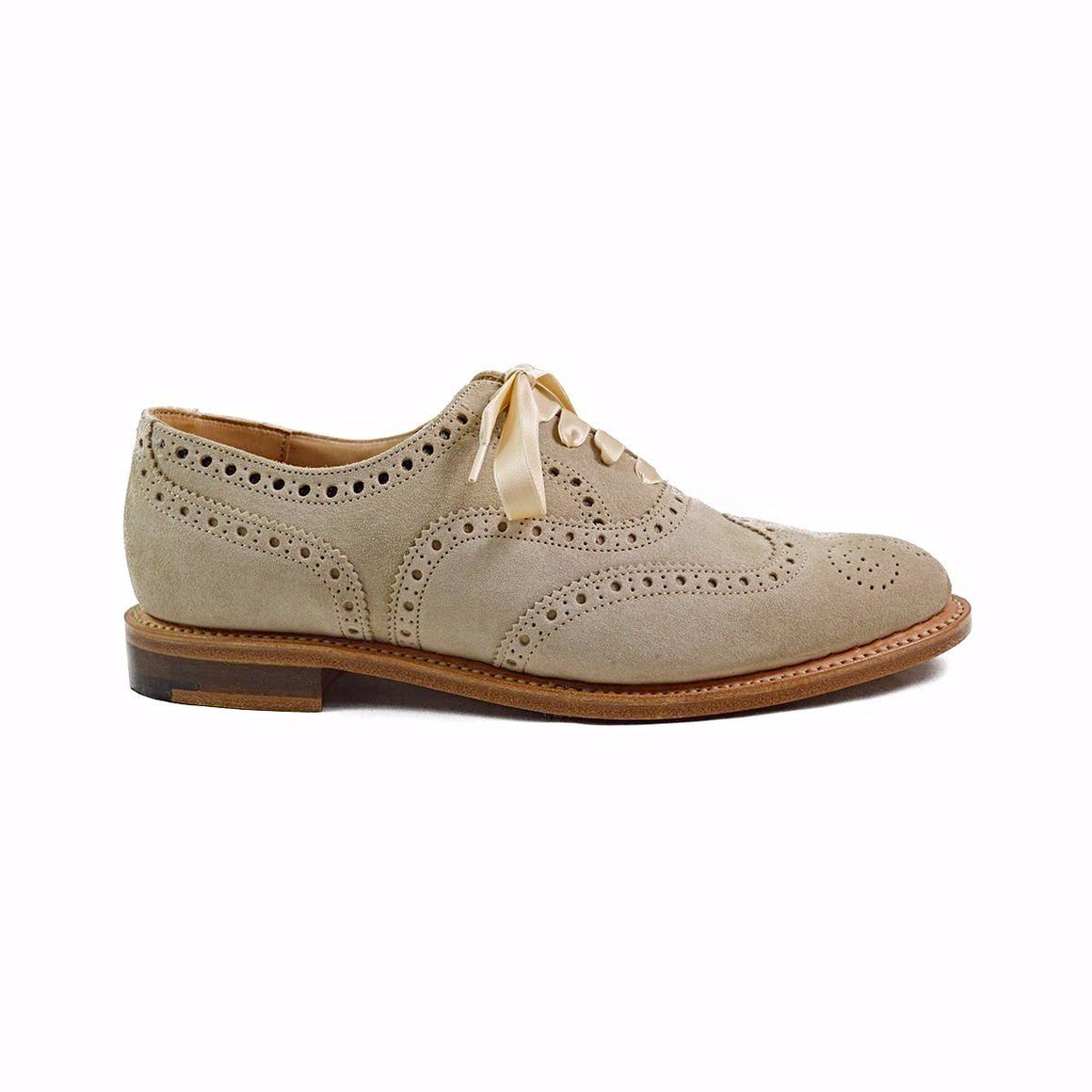 NPS Womens Charlotte Sand Suede Brogue Shoes