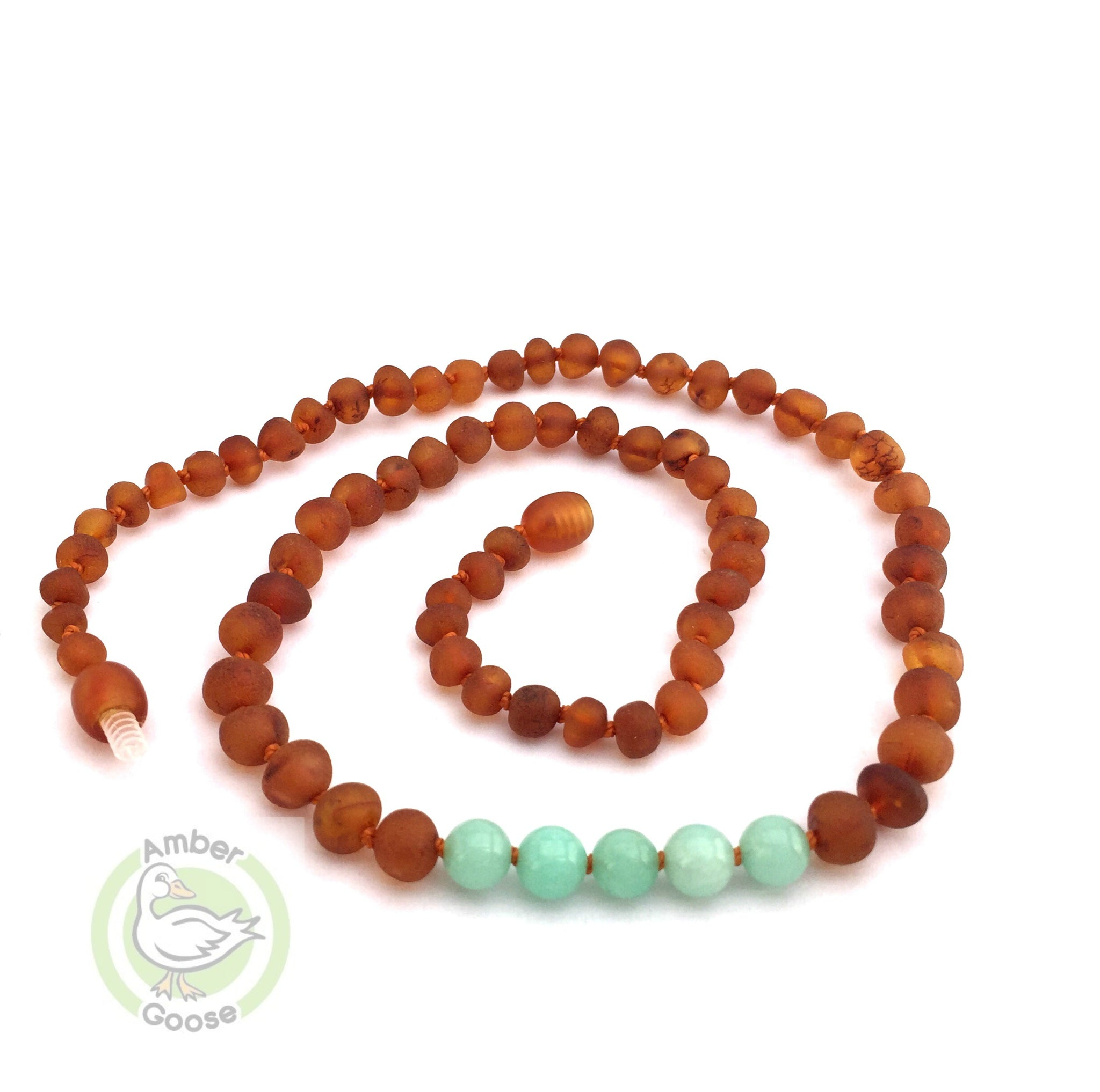 Amber Teething Necklace- Raw Cognac & Amazonite