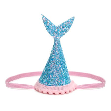 Mermaid Tail Party Hat Blue Glitter