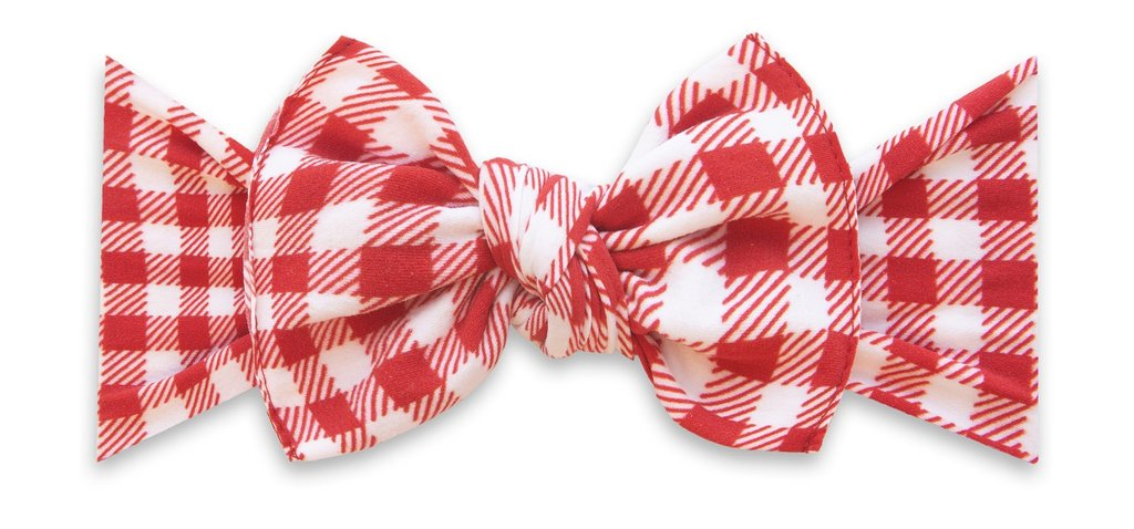 Cherry Check Printed Knot Headband