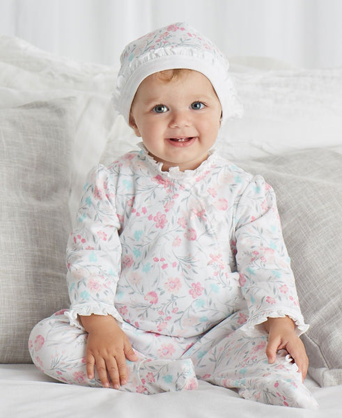Watercolor Footie and Hat Set
