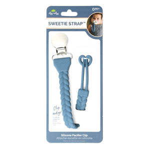 Sweetie Strap- Pacifier Clip Blue and Silver
