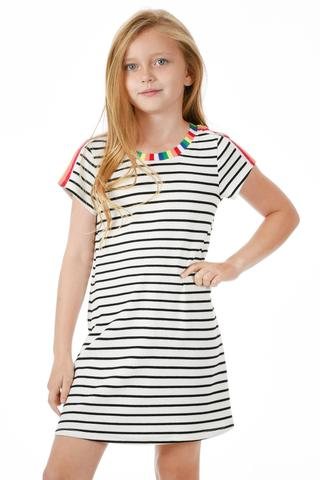 Black and White Stripe Dress with Rainbow Detail
