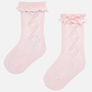 Rose Pink Knee High Baby Socks