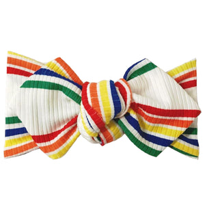 Ribbed Rainbow Stripe Top Knot Headband