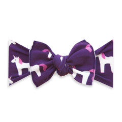 Plum Unicorn Printed Knot Headband