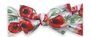 Red White Poppy Printed Knot Headband