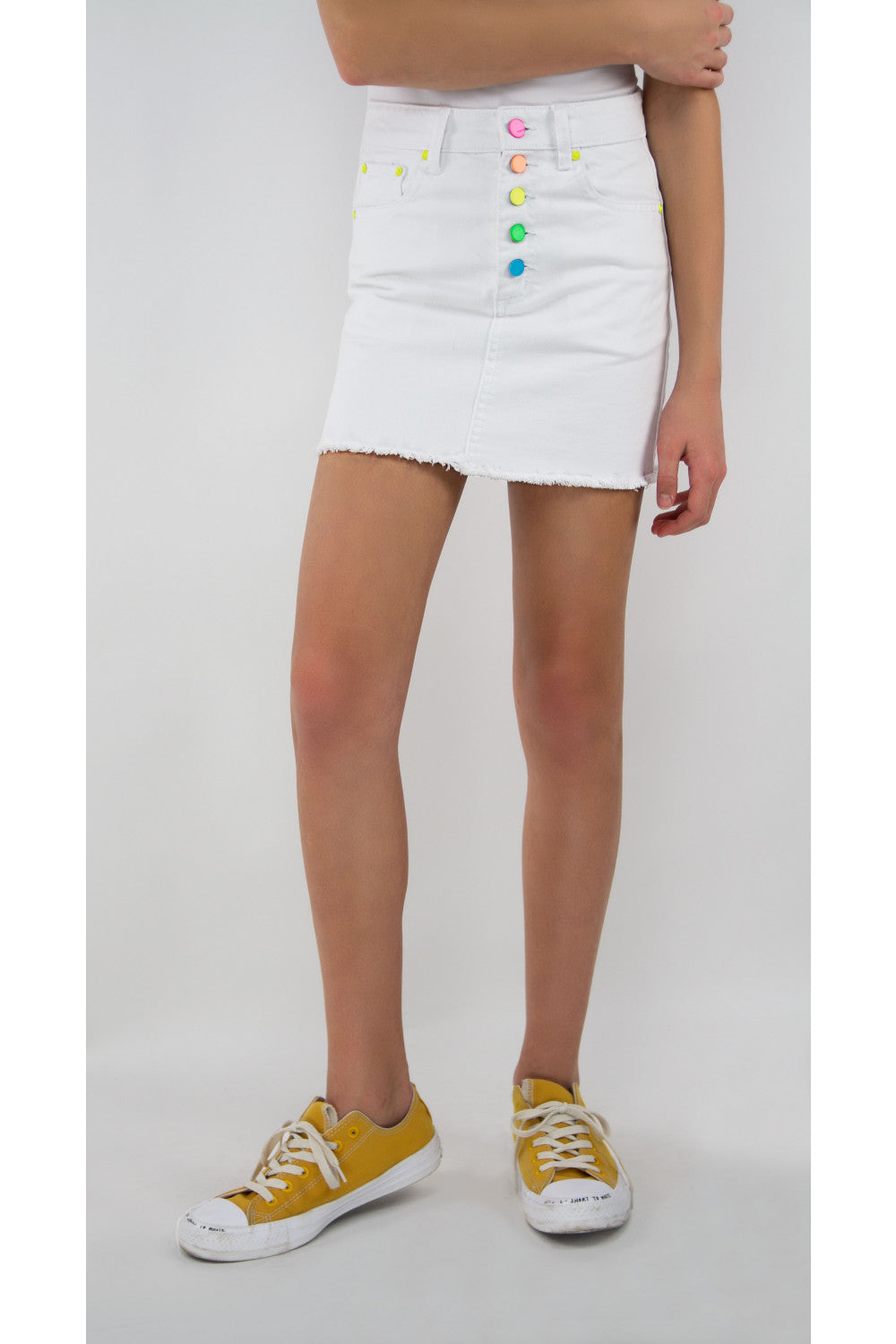 White Denim Rainbow Button Skirt