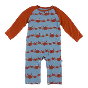 KP Blue Moon Crab Family Raglan Romper