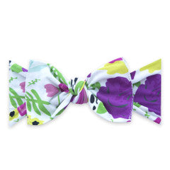 Baby Bling White Pop Floral Printed Knot Headband