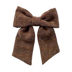 Textured Cocoa Big Solo Bow