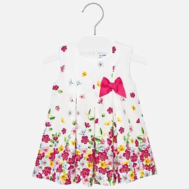 Poplin Dress With Flowers and Bow