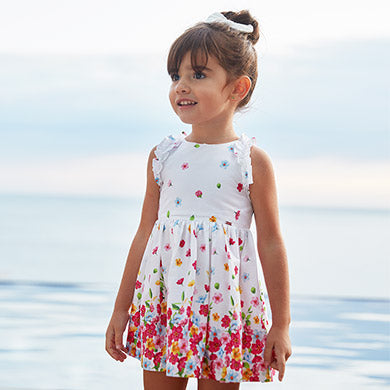 Girls White Dress with Flowers