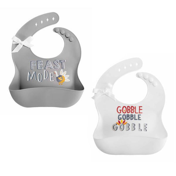 White Thanksgiving Silicone Bib