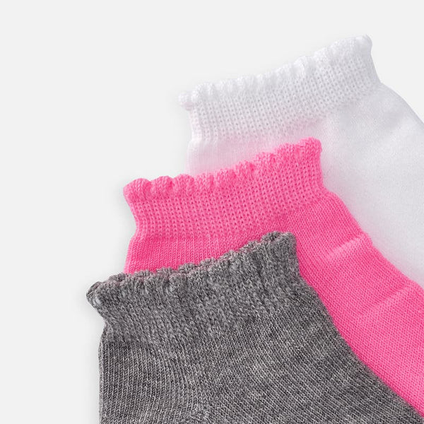 3 Pack Girls Socks Grey/White/Hot Pink