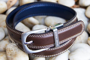 Reversible Brown Stitch/Navy Leather Belt