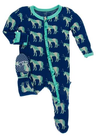 Flag Blue Unicorn Ruffle Footie