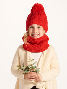 Sherpa Lined Cable Knit Winter Hat/Scarf Set