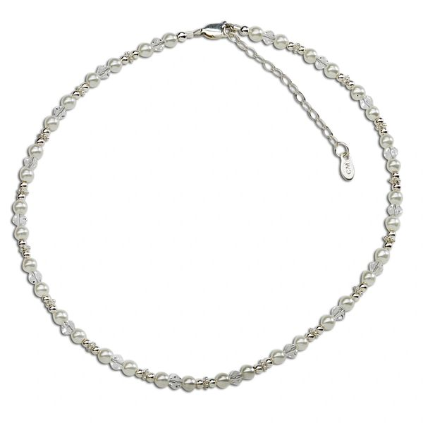 Flower Girl Sterling Silver Necklace -White