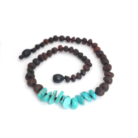 Amber Teething Necklace- Raw Cherry & Turquoise