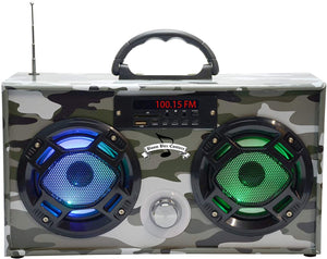 Mini Boom Box Bluetooth Speaker - Green Camo