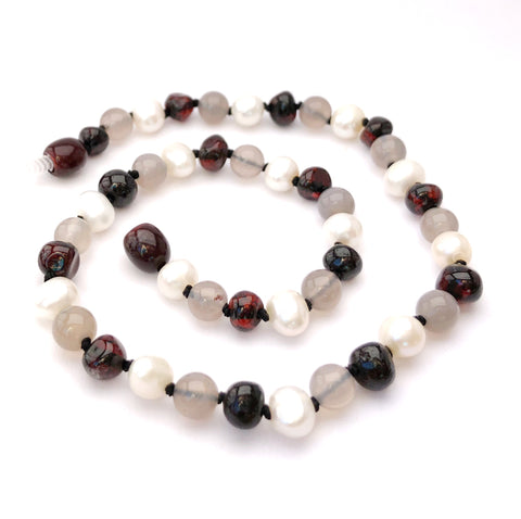 Empress - Cherry Amber, Pearls & Agate