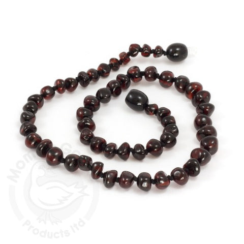 Amber Teething Necklace-  Baroque Dark Cherry