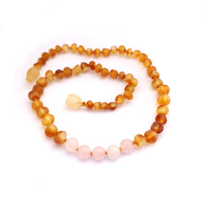 Amber Teething Necklace-  Raw Honey & Rose Quartz